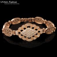 New Fashion Clear Stone  Watch Bracelet  Women  17.5 cm 18k  Gold Plated