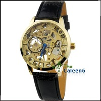 PU Leather Gentleman  Mechanical Hand Wind New Arrival 2013 Latest Design Watches Top Brand Men Drop Shipping Winner WU8050