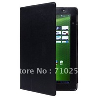 Freeshipping Leather Folio Case Cover with Viewing Stand for Acer A500 (Black)
