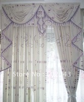 FREE SHIPPING Europen Style finished curtain W/valance+fabric+lining+fringe