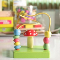 Children's Educational toys mushroom around beads wood plane #2073
