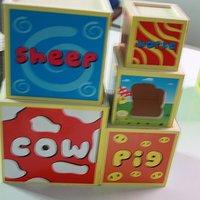 Children's building blocks Wooden Toys Animal Piles high  #2064