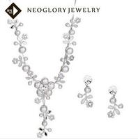 Neoglory Fashion Rhinestone Simulated Flower Pearl Wedding Bridal Jewelry Sets Accessories for Women 2014 New Vintage Retro Love