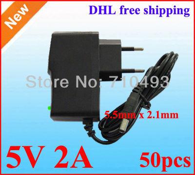 wholesale 50pcs / Lot DC 5V 2A Power Adapter Supply 5V Charger adaptor EU -EU / US Plug 5.5mm x 2.1mm DHL free shipping(China (Mainland))