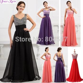 Free shipping!!Elegant Grace Karin Stunning Chiffon V-neck Prom Gown Evening Long Bandage Dress  Habit De Soiree  CL4104