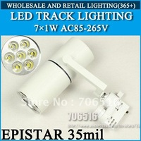 LED Track Lighting 7x1W Epistar 35mil AC85-265V 7W 700LM Warm White / Cool White Free Shipping/DHL