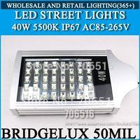 LED Street Lights BRIDGELUX 50mil 40W Warm white/cold white IP67 AC85-265V Free shipping