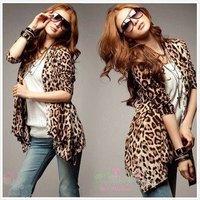 2012 Free shipping Fashion Women Leopard cardigan Cotton Slim Ladies' leopard coat