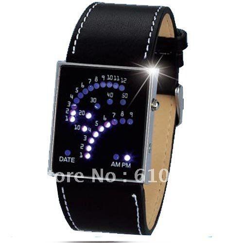 Hot sale Fashion New Black Unique Design 29 Binary LED Digital unisex Digital Gift Watch(China (Mainland))