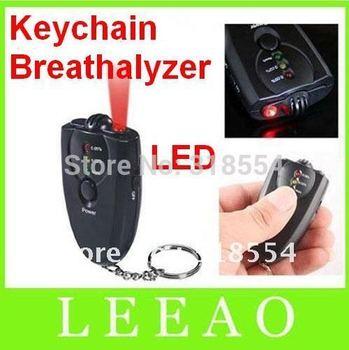 250pcs/lot Keychain Digital Breathalyzer Alcohol Analyzer Breath Tester LED Flashligh Key chain Black Free Shipping
