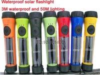 Wholesale 3M waterproof solar flashlight for diving  2 glade brightness LED Solar torch 100pcs/lot  Free shipping