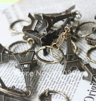 FREESHIPPING,vintage Eiffel Tower alloy keychain,mini Retro metal key chain,Creative metal key ring/keychain,promotion keychains