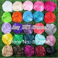 EMS Free Shipping!500pcs/lot1.8''-2'' Ribbon Rosettes,Satin Rose,Satin Rolled Rosettes,Fabric Flowers,Rosettes Silk Flower