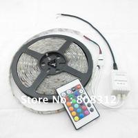 Free Shipping 5050 RGB Waterproof Flexible LED Strip Kit 150 Led  30 leds/Meter + 24 Key IR remote Controller Strip LED 5M