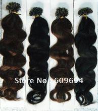 "18"" 20"" 22"" 24"" 100g wavy Italian keratin U tip Nail hair extensions 1g/s 100% Indian Remy Human Hair black brown in stock(China (Mainland))"