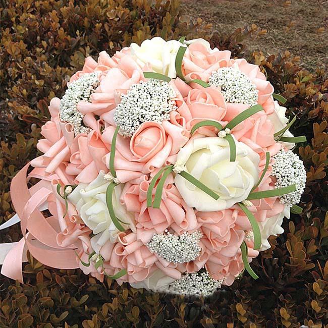 Romantic Wedding Bouquet Bride Hands Holding Rose Flower(China (Mainland))