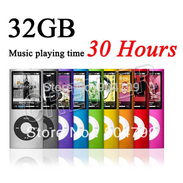 """Billige musik Spielzeit 30 Stunden neuen 32gb schlanke 1,8"""" 4. lcd mp3 mp4 player fm radio video 9 farben frei schiff"""