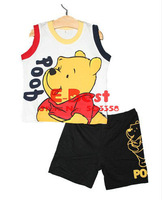 [E-Best] Baby boys cartoon clothing sets T-shirt+short pants summer bear suits E-SSW-017
