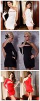 High quality! Sexy Clubwear, One-Shoulder Fashion Dress, Clubbing Dresses, Black/ White/Red, DL2389b