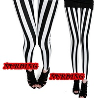 Womens Full Length Leggings Ladies Long Vertical Black White Stripe Legging SIZES M X XL