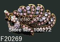 wholesale fashion hair Jewelry peacock crystal rhinestone alloy hair clip hair ornament  Free shipping 12pcs/lot  F20269