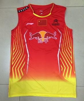 Free shipping 2014 World Championships men shirt Li Ning badminton clothing Chen Long sleeveless T shirt