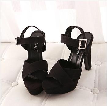 Ladies Fashion Sandals High Heels Platform Female Summer Shoes Women Pumps With Ankle Strap Black China Size 39 SKR869