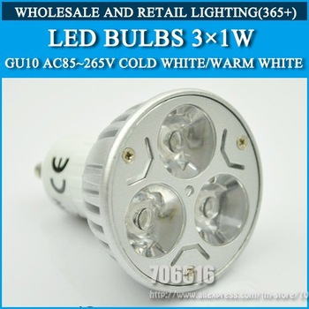 Wholesale 50PCS high power GU10 3W 6W led Bulb Lamp Dimmable Cold white/warm white AC85-265V Free Shipping