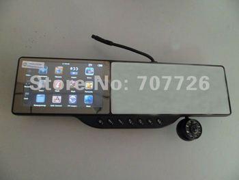 New arrival 5 inch car rear view mirror + HD 720P Dvr(optional)+GPS navigation + Bluetooth +AVIN+4GB card Drop shipping