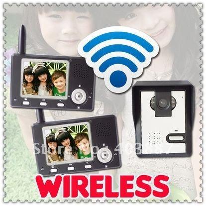 2 v 1 Free shipping 2.4Ghz Digital wireless video door phone intercom systems+ memory&remote control (2 monitors + 1 camera )(China (Mainland))