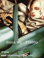 Oil Painting Reproduction,Tamara In The Green Bugatti byTamara De Lempicka ,Free Shipping ,100% Save Guarantee (TDL002)