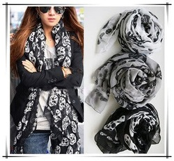 Cool Big Skull Cotton Womens Long Scarf Shawl Fashion Free shipping A903(China (Mainland))
