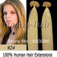 20inch-50cm Keratin U tip/ Nail tip hair extension 1gram/Piece #24 Medium blonde color 100gram/LOT