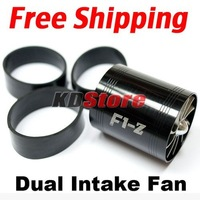 Free shipping F1-Z Tornado Turbonator Intake Dual Fan Gas Fuel Saver Supercharger Universal BLACK (10023)