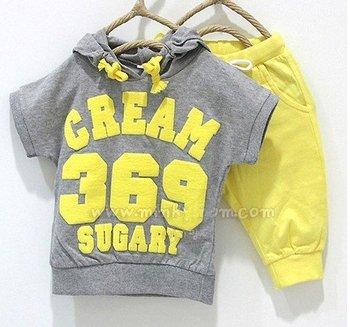 144# free shipment children boy's cream 369 short sleeve hoodies pants 2pcs clothing set 5sets/lot