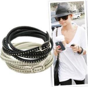 fashion fine rivet wrapped leather bracelet jewelry,Free shipping ! wholesale!(China (Mainland))