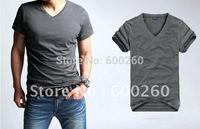 TOP Quality!2014 hot Men clothes t shirt high-elastic cotton men's short sleeve v neck tight shirt male T-shirt