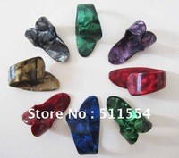 Mixed Colorful FINGER GUITAR PICKS Celluloid Heavy Thumb Picks (Half-half  for each) Free shipping