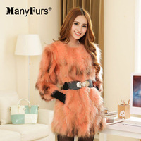 ManyFurs-New 2014 Raccoon fur women winter coat natural furs outwear coats women's jackets brand white with brown high quality