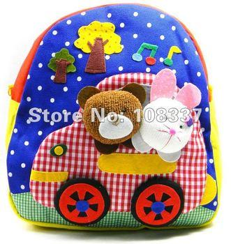 cartoon baby backpack children's satchel/schoolbag kid's cotton backpack kindergarten bag free shipping