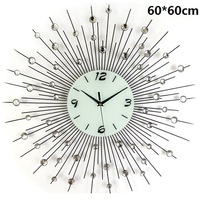gz014 Free shopping 1pcs 60*60cm super atmospheric Europe wrought iron set auger fashion creative mute wall clock room