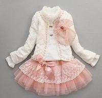 Hot sell spring 2012 new arrival girls sets,Wholesale girls set,coat+shirt+skirt set, 3color,4set/lot