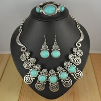 Vintage jewelry set tibetan silver turquoise Retro necklace earring bracelet women dress gift S023