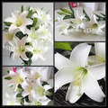 6pcs / lot  97CM  Artificial Silk perfume Lily wedding flowers , 3 color to choose home decoration FL020
