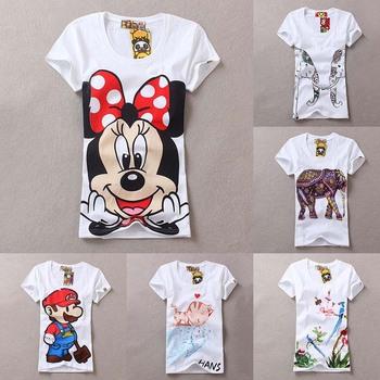 [SEKKES] 2015 Fashion Women Minnie T Shirt Zebra Shirt  Women Tops Elephant T-shirts