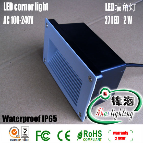 Free shipping factory hot sale gray shell panels led corner light led wall light led foot light 85V~265V AC Warranty 2 years(China (Mainland))