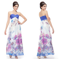 09732 Ever Pretty Ladies' Strapless Floral Printed Chiffon Ruffles Long Formal Evening Dress