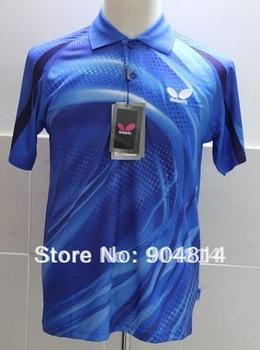 2012 free shipping wholesale!Butterfly Man's Badminton /table tennis shirt colour :blue J0051