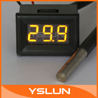 """0.36"""" -55 Degree to 125 Degree Yellow LED Digital Thermometer  DC 12V 24V Temperature Monitor Meter#090703"""