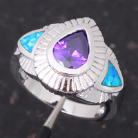 Free Shipping Wholesale & Retail Crystal Blue fire Opal 925 Sterling Silver fashion jewelry Rings Birthday USA size  #8 OR259